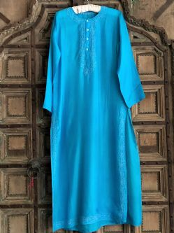 Pure Silk Kaftan with Embroidery - Turquoise